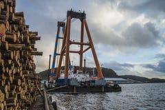 Huge floating crane Royalty Free Stock Images