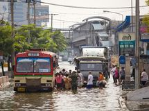 Huge flood disaster in Thailand stock photos