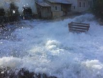 Huge flooding in the village on a studio set royalty free stock image
