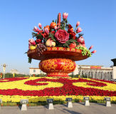 Huge flower basket in Tiananmen square,  Beijing, China Royalty Free Stock Photo