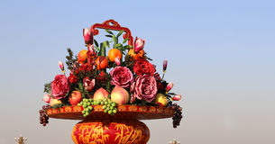 Huge flower basket in Tiananmen square,  Beijing, China Stock Photo