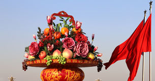Huge flower basket in Tiananmen square,  Beijing, China Stock Image