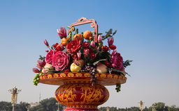 Huge flower basket in Tiananmen square,  Beijing Stock Photos