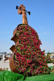 A huge flowerbed in the form of a violin Stock Images