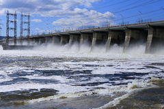 A huge force of water and the nature at the dam Stock Photo