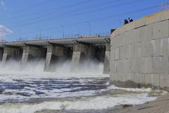 A huge force of water and the nature at the dam Stock Photos