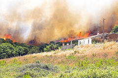 Huge forest fire threatens homes Royalty Free Stock Images
