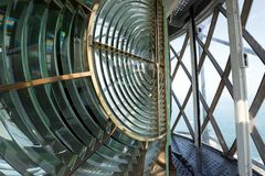 Huge Fresnel lens in a lighthouse Stock Photo