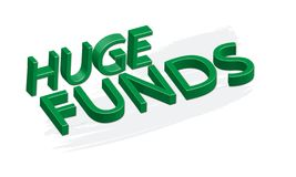 Huge Funds, Green 3D text isolated on white background, vector vector illustration