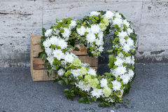 Huge funeral heart wreath. Huge funeral wreath made of roses in detail Royalty Free Stock Photo