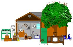 Huge garage sale background. With variety of items royalty free illustration