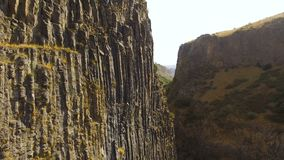 Huge Garni Gorge with basalt columns, tourist attraction in Armenia, nature. Stock footage stock footage
