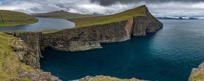 Sorvagsvatn lake over the ocean ultra wide panorama, Faroe Islands
