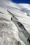 Huge glacier crack. Big deep crack in glacier in Iceland Stock Images