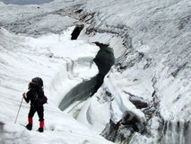 Huge Glacier Crevasse. Royalty Free Stock Photography