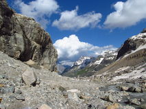 Huge glacier, snow and high rocky peaks of Caucasian mountains Stock Images