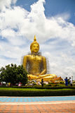 Huge gold sit buddha in thailand Royalty Free Stock Photography