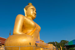 The huge golden Buddha at khao kiaw temple in ratchaburi Thailan Stock Image