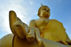Huge golden Buddha Located in Lam Luk Ka Stock Image
