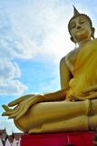 Huge golden Buddha Located in Lam Luk Ka Stock Images