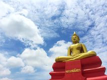 Huge golden buddha statue in Thai temple, Thailand Stock Photos