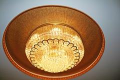 Huge golden chandelier stock images