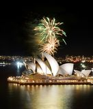 Huge golden fireworks light up the Sydney Opera House stock photo