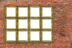 Huge golden frame over old brick wall Stock Photography