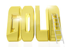 Huge golden word GOLD with a ladder next to it Royalty Free Stock Photo