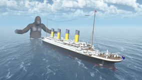 Huge gorilla and ocean liner Royalty Free Stock Photo
