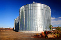 Huge Grain Bins Stock Photo