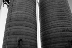 Huge grain and corn silo`s in Kansas Stock Photos