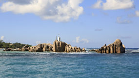 Huge granite boulders near Praslin Island in Royalty Free Stock Photos