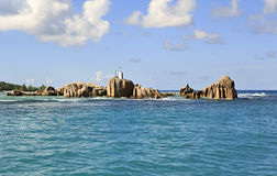 Huge granite boulders near Praslin Island in Indian Ocean Royalty Free Stock Images
