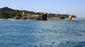Huge granite boulders near Praslin Island in Indian Ocean. Royalty Free Stock Photos