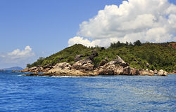 Huge granite boulders on Praslin Island in Indian Stock Photos