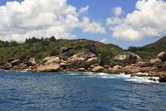 Huge granite boulders on Praslin Island in Indian Stock Image