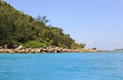 Huge granite boulders on Praslin Island in Indian Ocean. Royalty Free Stock Photos
