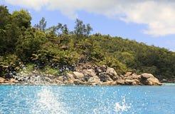 Huge granite boulders on Praslin Island in Indian Ocean. Royalty Free Stock Image