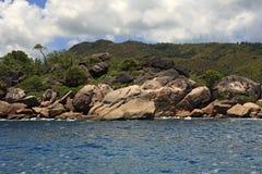 Huge granite boulders on Praslin Island in Indian Ocean. Stock Images