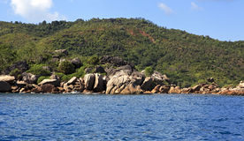 Huge granite boulders on Praslin Island in Indian Ocean. Stock Images