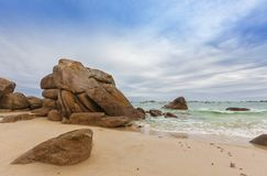 Rocks at the beach of Meneham, Brittany. Huge granite rocks at the beach of Meneham, Brittany, France Stock Photo