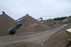 Huge gravel piles at brekke quarries, piles 1 Royalty Free Stock Images