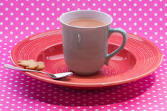 Huge green cup filled with English tea and milk Royalty Free Stock Photo