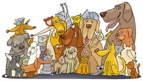 Huge group of Cats and Dogs. Illustration of huge Cats and dogs group stock illustration