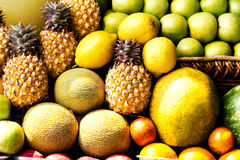 Huge group of colorful fresh fruits may use as food background. Stock Photos