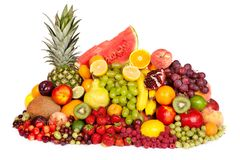 Huge group of fresh fruits Stock Photography