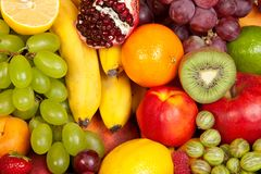 Huge group of fresh fruits Stock Images