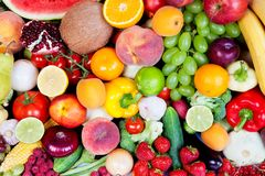 Huge group of fresh vegetables and fruits Royalty Free Stock Photos