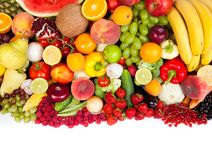 Huge group of fresh vegetables and fruits Stock Images